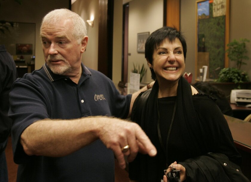 """In happier times: Ian Campbell meets with soprano Sylvie Valayre before a 2009 production of """"Tosca."""""""