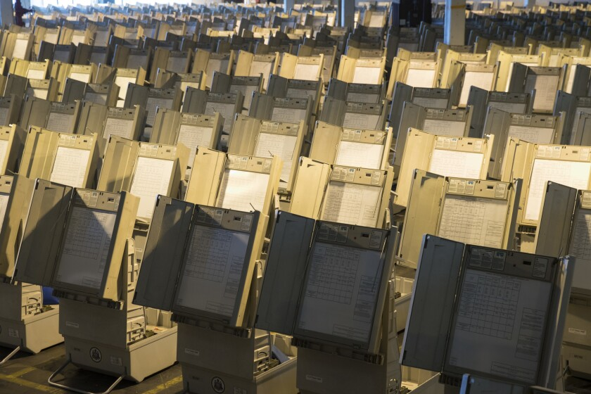 Voting machines being readied for use in Philadelphia.