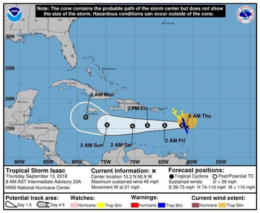Imagen cedida por el Centro Nacional de Huracanes (NHC) que muestra el pronóstico de cinco días de la tormenta tropical Isaac durante su paso por las Antillas Menores. EFE/NHC/SOLO USO EDITORIAL/NO VENTAS