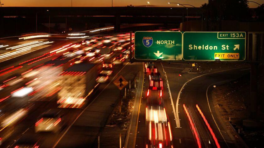 SUN VALLEY - DECEMBER 12, 2017 -- Traffic flows on the I-5 near the Sheldon Street exit where an emp