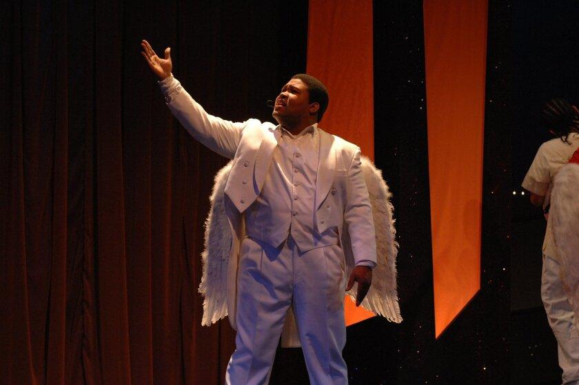 "Willie Green as Michael the Archangel in Teatro Mascara Magica's ""La Pastorela de Valor."""
