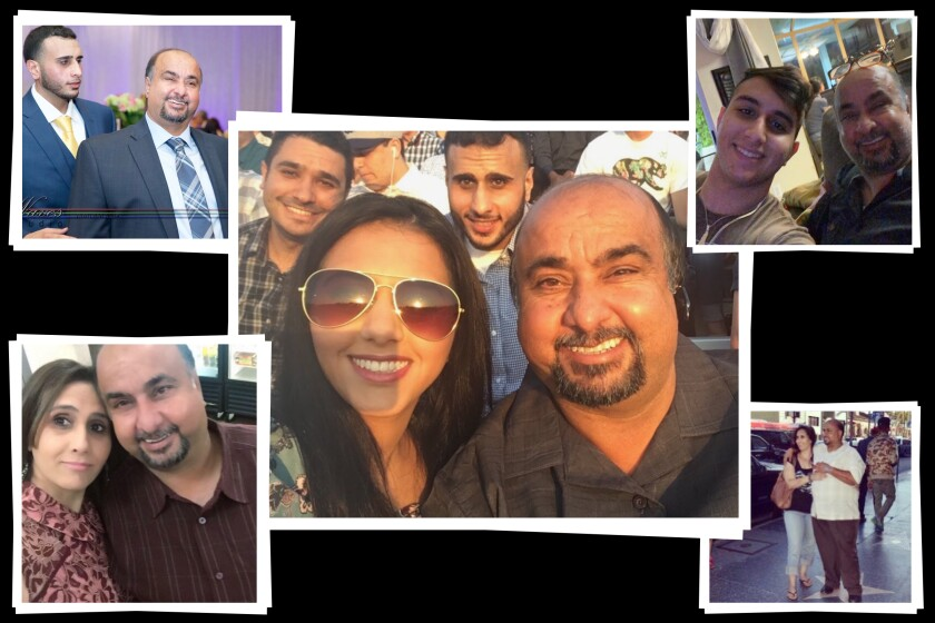 Uber driver Khaled Zayyid pictured with son Tarik, wife Lamis and daughter Roula