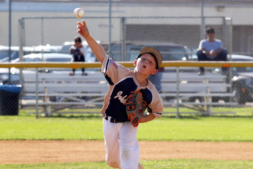 Costa Mesa's Conall Maddock pitches during the Costa Mesa Little League No.1 team playing Huntington