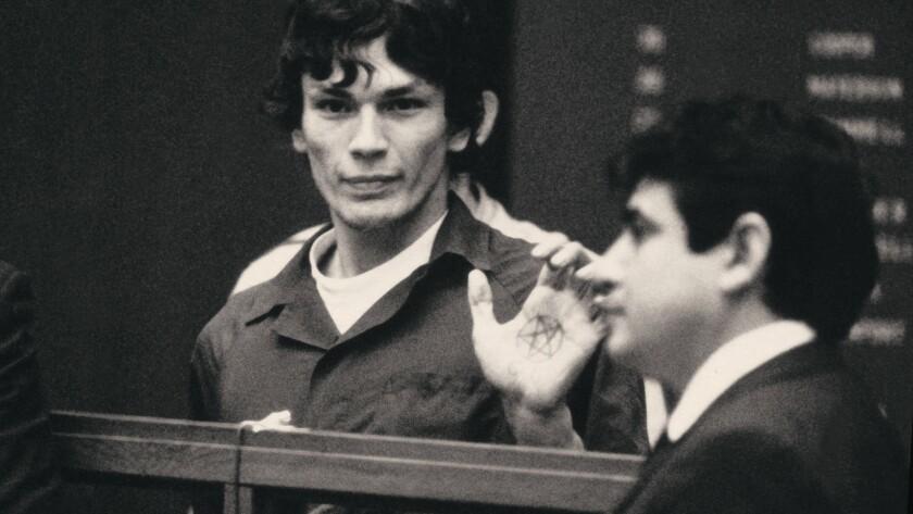 "Serial killer Richard Ramirez is shown in the courtroom in ""Night Stalker: The Hunt for a Serial Killer."""