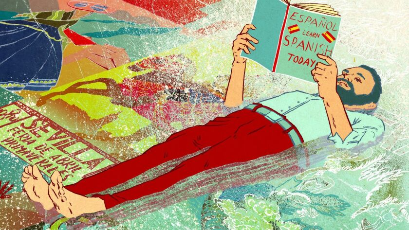 "Illustration for Catharine Hamm's ""On the Spot"" column about learning languages running in print Jan"
