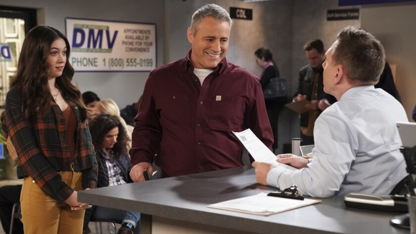 """Grace Kaufman and Matt LeBlanc in a new episode of the comedy """"Man With a Plan"""" on CBS."""