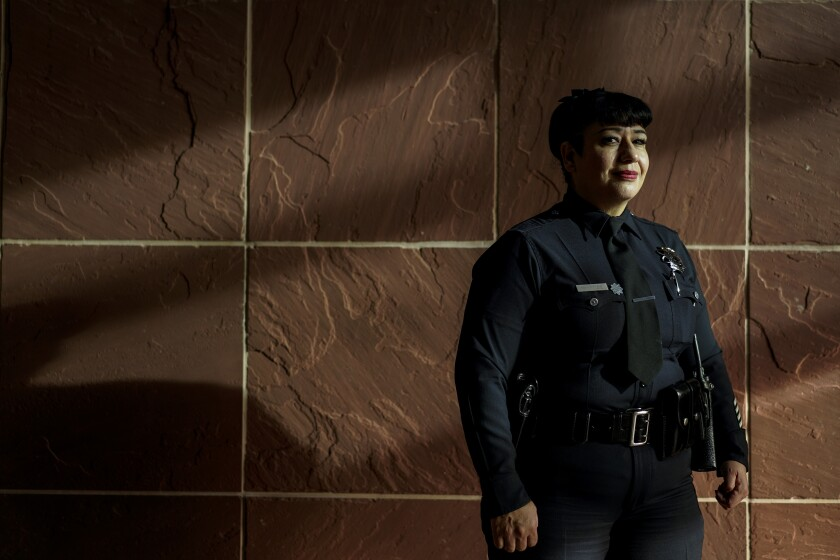 Officer Lucia McKenzie at the LAPD Rampart station in Westlake