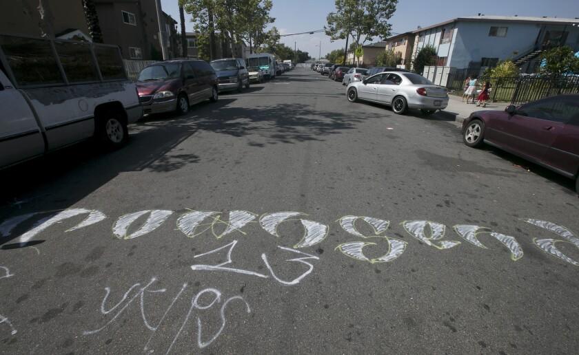 A gang's tags mark a street.