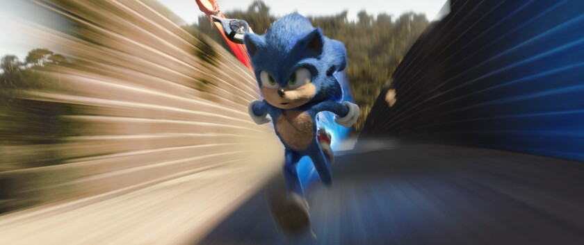Sonic running in a scene from 'Sonic the Hedgehog'