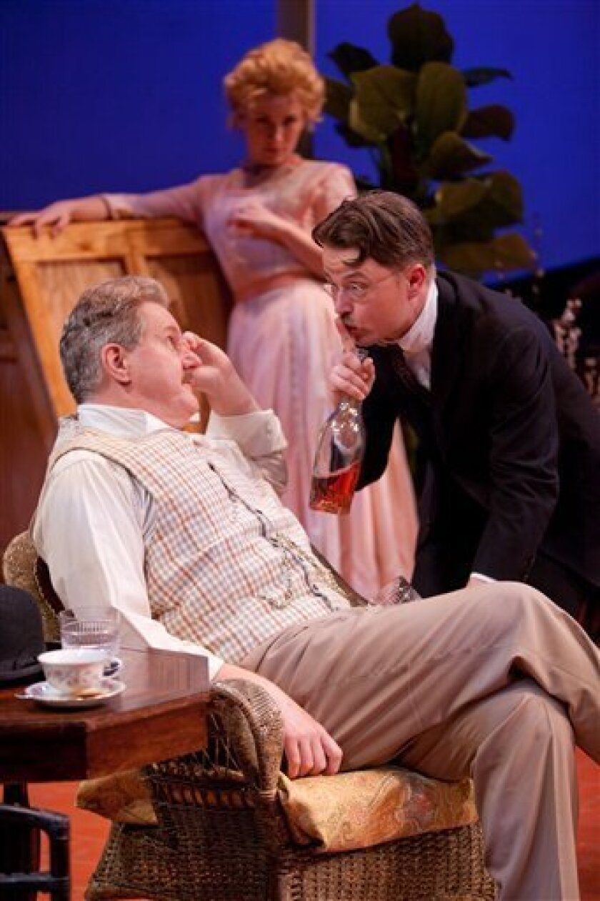 """In this theater publicity image released by Pearl Theatre Press Office, from left, Dan Daily, Lee Stark and Sean McNall in a scene from the Pearl Theatre revival of George Bernard Shaw's Misalliance,"""" running off-Broadway through Jan. 24, 2010 at New York City Center Stage II in New York. (AP Photo/ Pearl Theatre Press Office, Sam Hough)"""