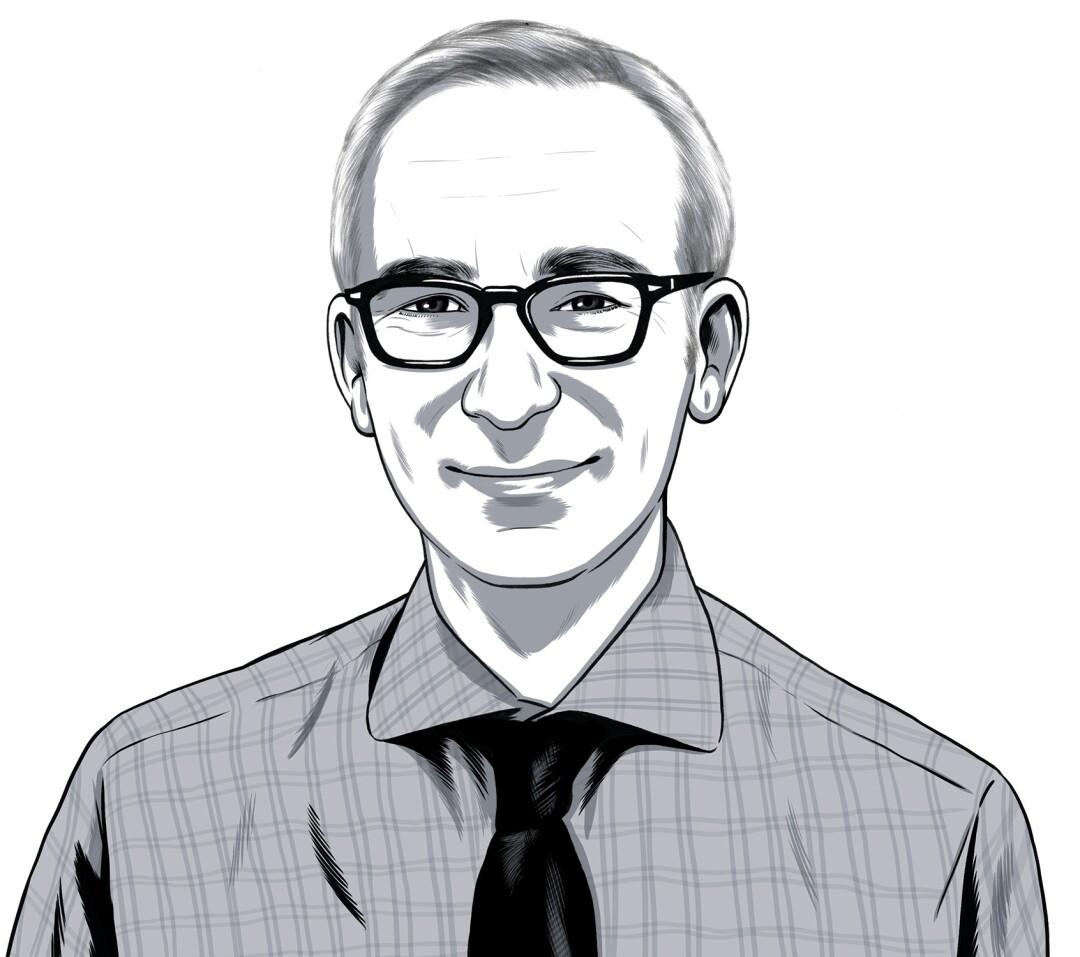 A line drawing of Glenn Whipp