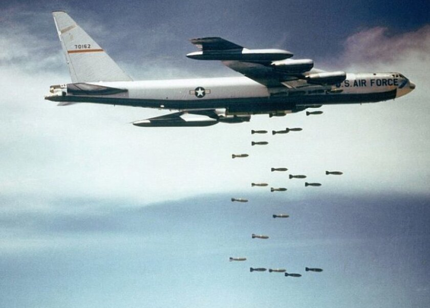 The Jasons studied whether it was advisable to drop nuclear bombs on North Vietnam. This image shows a B-52F dropping conventional weapons in Vietnam.
