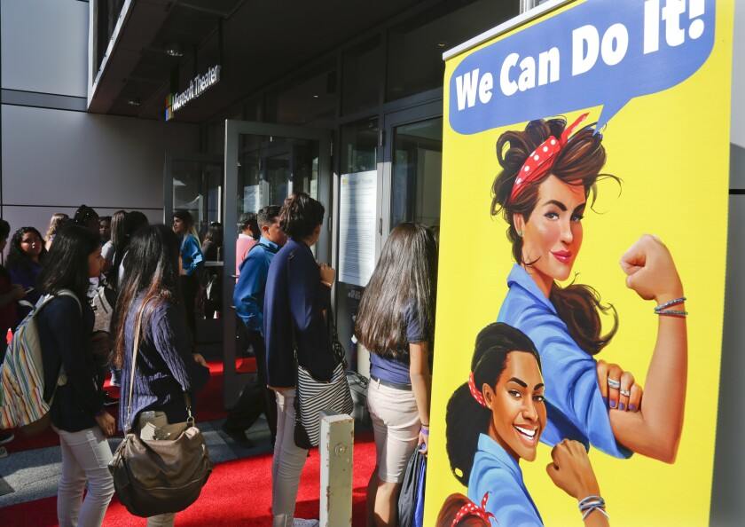 """Girls from schools around Los Angeles arrive for the West Coast premiere screening of """"He Named Me Malala"""" at the Microsoft Theater on Tuesday at L.A. Live."""