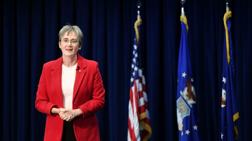 EL SEGUNDO, CALIFORNIA DECEMBER 18, 2017-Air Force Secratary Heather Wilson speaks at the Los Angele