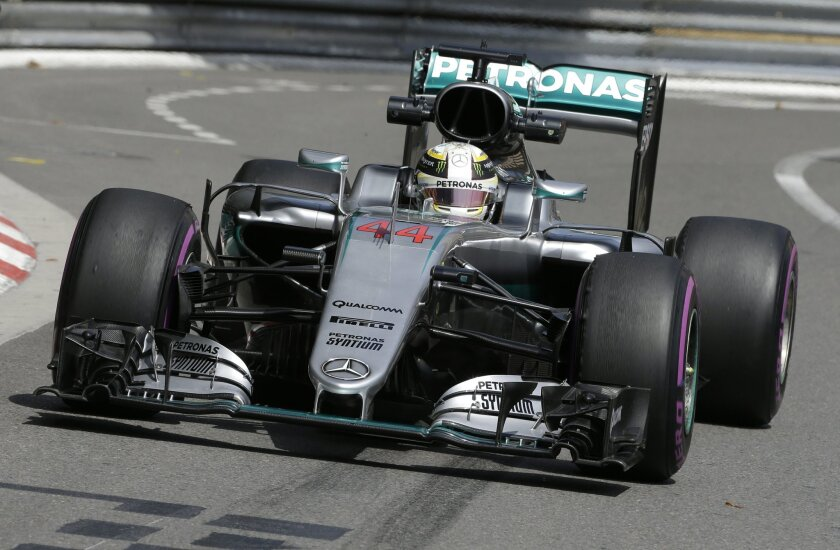 Mercedes driver Lewis Hamilton of Britain steers his car during the first free practice at the Monaco racetrack in Monaco, Monaco, Thursday, May 26, 2016. The Formula one race will be held on Sunday. (AP Photo/Claude Paris)