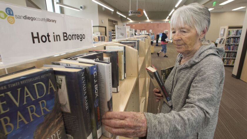Borrego Springs resident Toni Belzer visits the new Borrego Springs Public Library at least once a week.