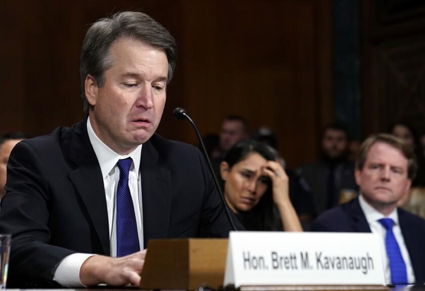 Supreme court nominee Brett Kavanaugh gets emotional before the Senate Judiciary Committee on Sept. 27.