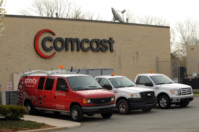 The outside of a Comcast facility in Pottstown, Pennsylvania.