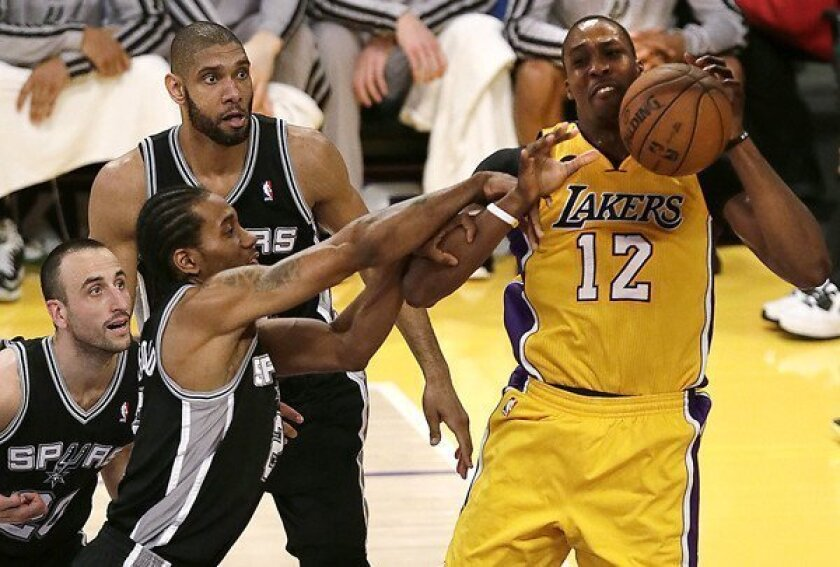 Shorthanded Lakers No Match For Spurs In Game 3 Los Angeles Times