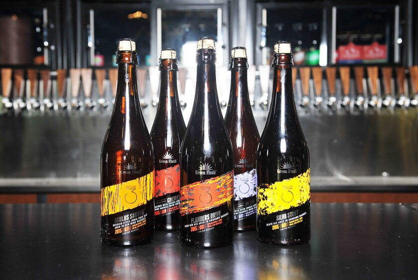 Green Flash Brewing Company Cellar 3 offers a variety of barrel-aged beers on tap or take home bottles. (Rick Nocon)
