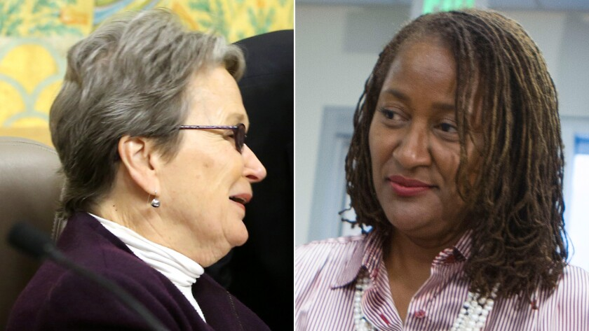 California Sens. Loni Hancock (D-Berkeley), left, and Holly Mitchell (D-Los Angeles) want offices and factories to be regularly reassessed for property taxes.