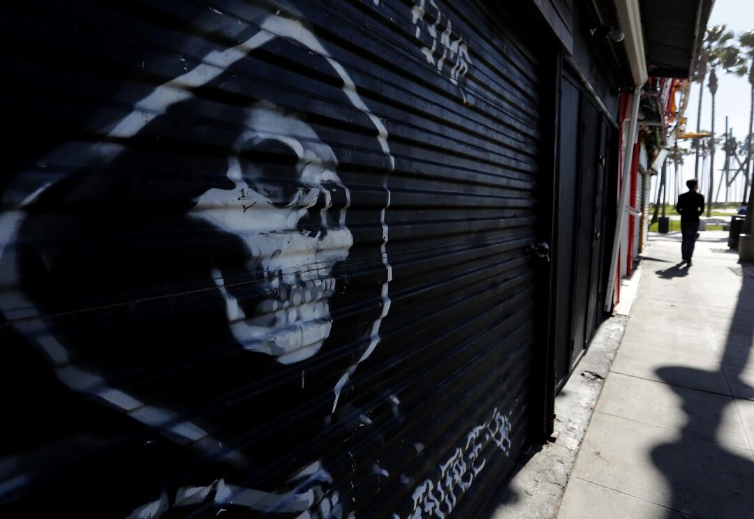 Shuttered shops line Windward Avenue in Venice Beach.