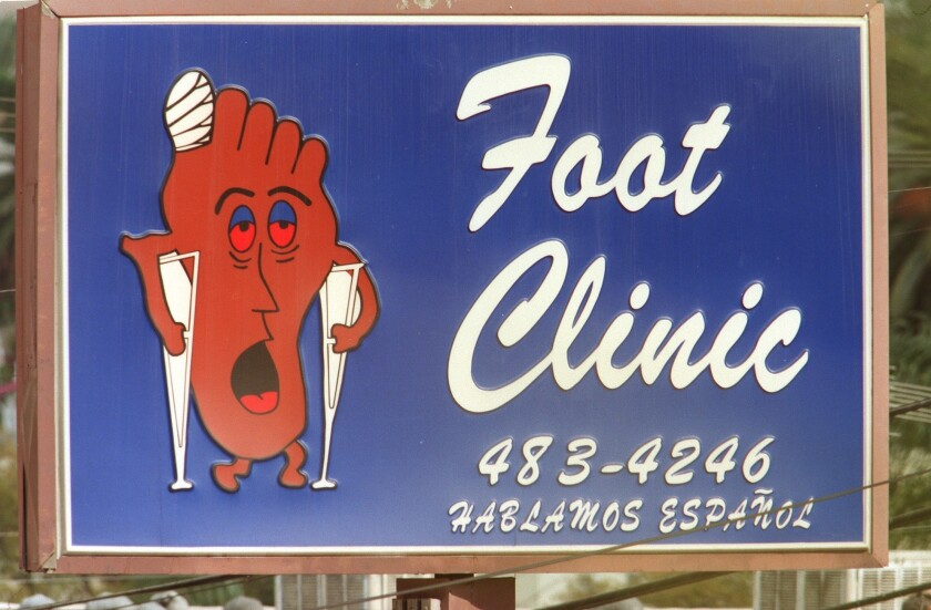 The Happy Foot Sad Foot sign is at the intersection of Sunset Boulevard and Benton Way. Urban lore is that if you drive up on it and see the happy foot, you have a good day but if you drive by and see the sad foot, you will have a bad day.