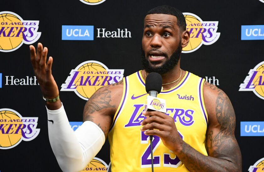 Lakers star LeBron James speaks during the team's media day on Sept. 27.