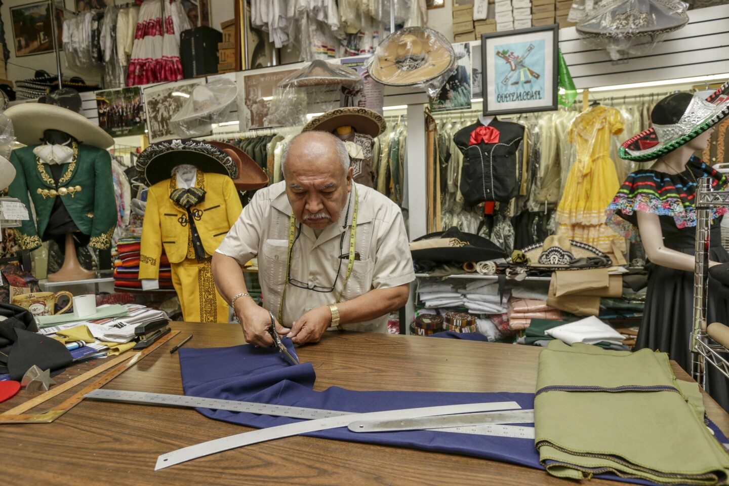 Jorge Tello, 62, said last night he was happy, thinking that Hillary Clinton would win the presidency. This morning, he woke up sad, worried about how a Donald Trump presidency would affect immigrants like him. Tello has owned a mariachi uniform tailoring shop in Boyle Heights for the last 30 years.