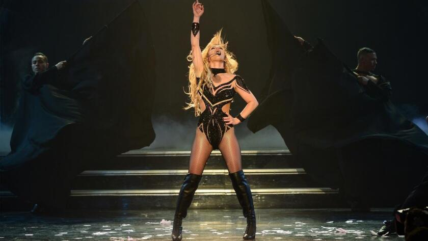 Britney Spears is shown performing in her Las Vegas revue show.