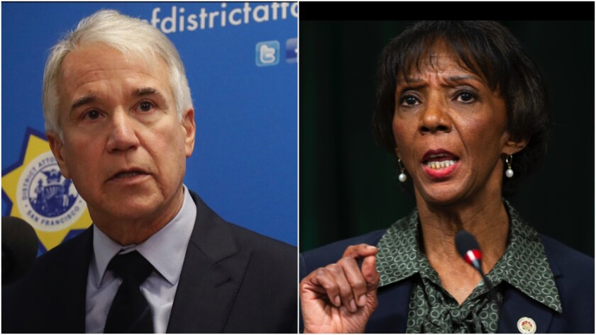 Diptych shows George Gascon and Jackie Lacey each speaking at a microphone