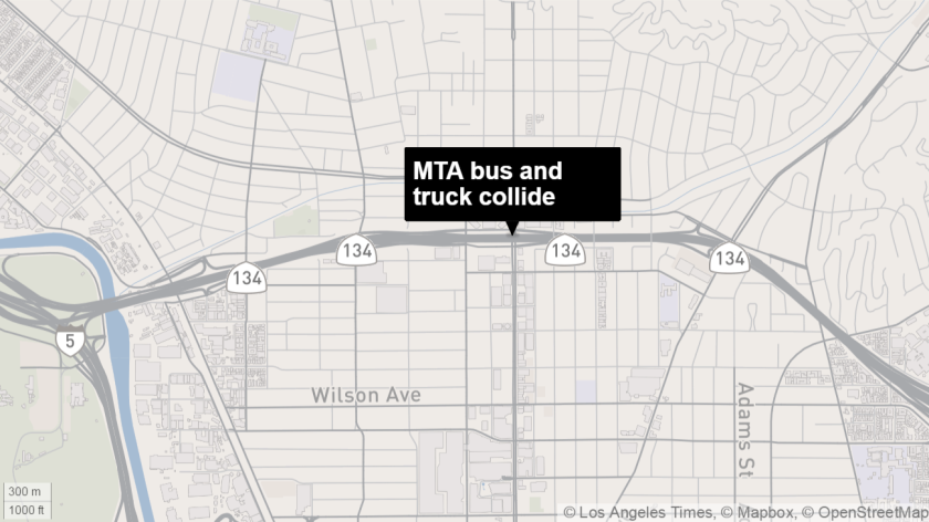 Several passengers were hospitalized Monday when a MTA bus collided with a box truck in Glendale, police said.