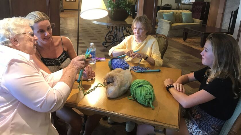 Shirley Maddox, Shannon Alford, Ilse Angove and Ella Alford during one of the knitting sessions.