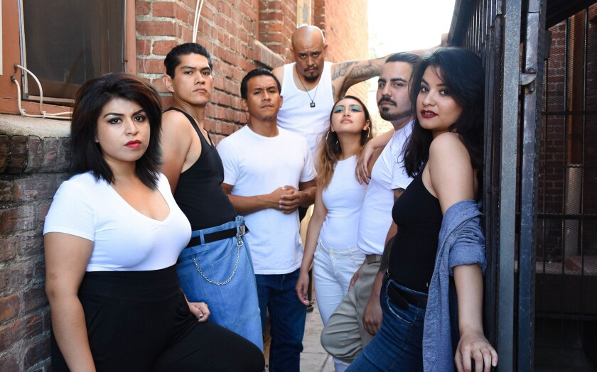 "Haylee Sanchez, from left, Venancio Bermudez, Rufino Romero, Alex Alpharaoh, Alexa Ortiz, Angel Lizarraga, and Rachel Lemos star in ""Always Running"" at CASA 0101 Theater."