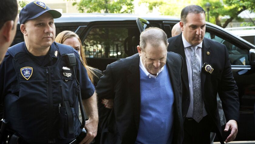 Harvey Weinstein is escorted into court on May 25, 2018, in New York.