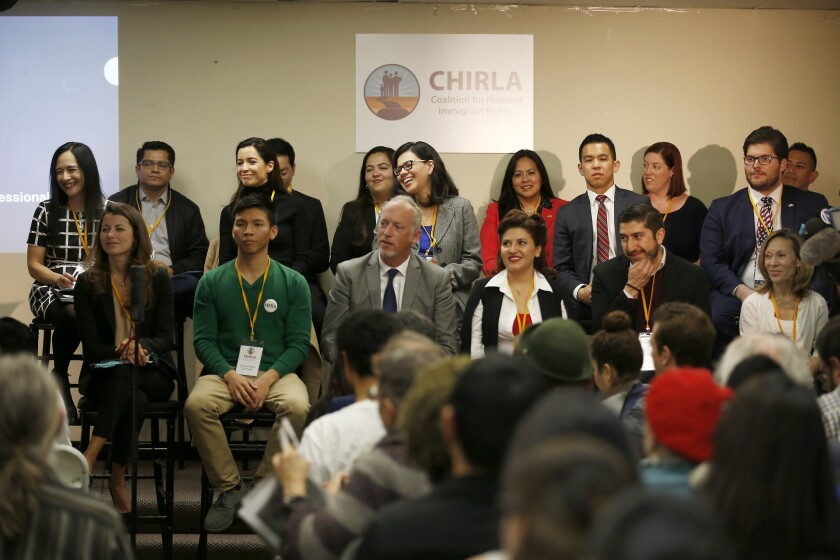 Some of the 24 candidates running to replace Xavier Becerra in Congress participate in a forum hosted by the Coalition for Humane Immigrant Rights of Los Angeles.