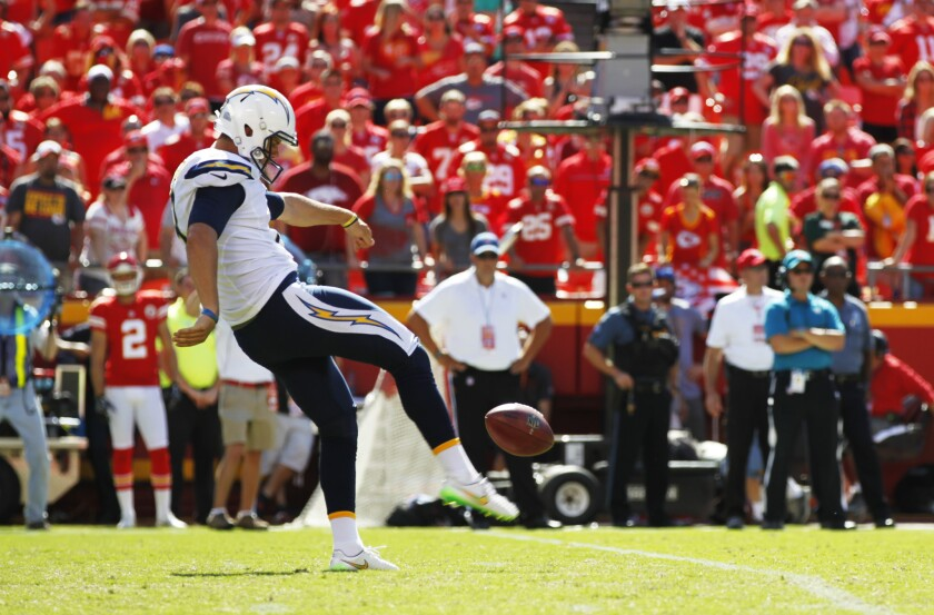 Chargers rookie Drew Kaser punts for 17 yards in the 4th quarter against the Chiefs in his first game.