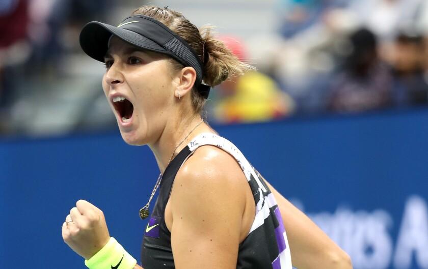 Belinda Bencic of Switzerland reacts during her U.S. Open match Monday.