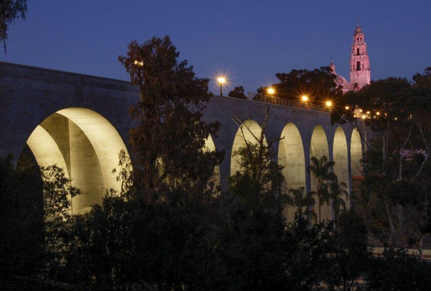 Cabrillo Bridge at night.