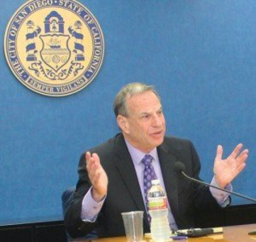 Mayor Bob Filner during one of his media roundtable events at  San Diego City Hall. La Jolla Light photo