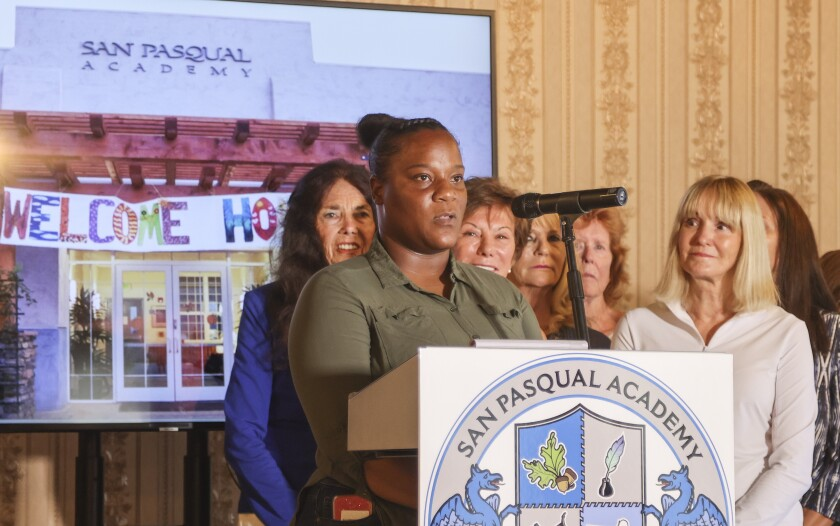 San Pasqual Academy graduate and employee Natasha Strain speaks about a lawsuit to keep the residential school open.