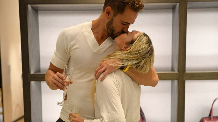 "Corinne Olympios and Nick Viall in a scene from ""The Bachelor."""