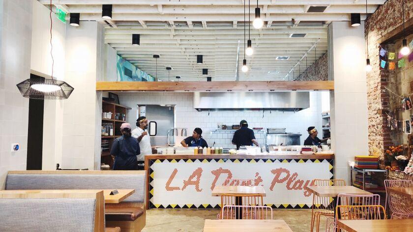 Interior Guerrilla Taco restaurant in Los Angeles, CA.