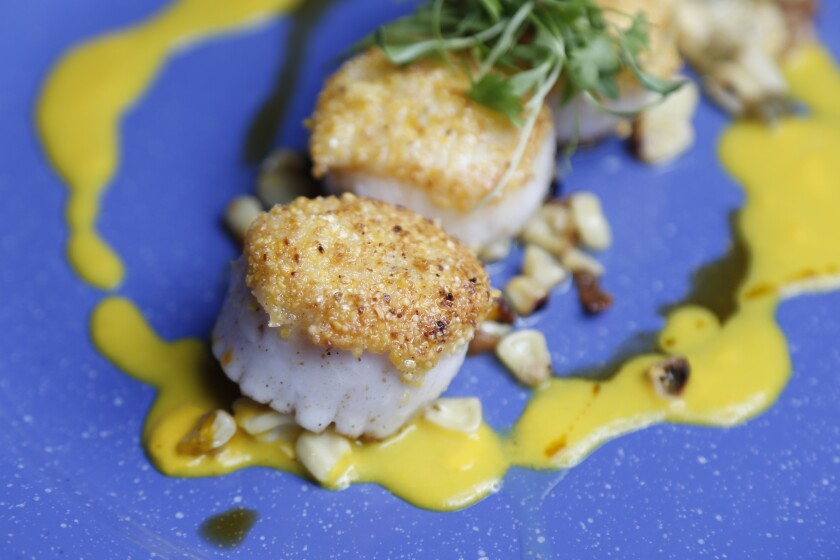 Scallops & Corn 3 Ways consists of cornmeal crust, apple bacon, corn ragout, saffron, and cognac sweet corn sauce. | Photography by David Brooks for PACIFIC.