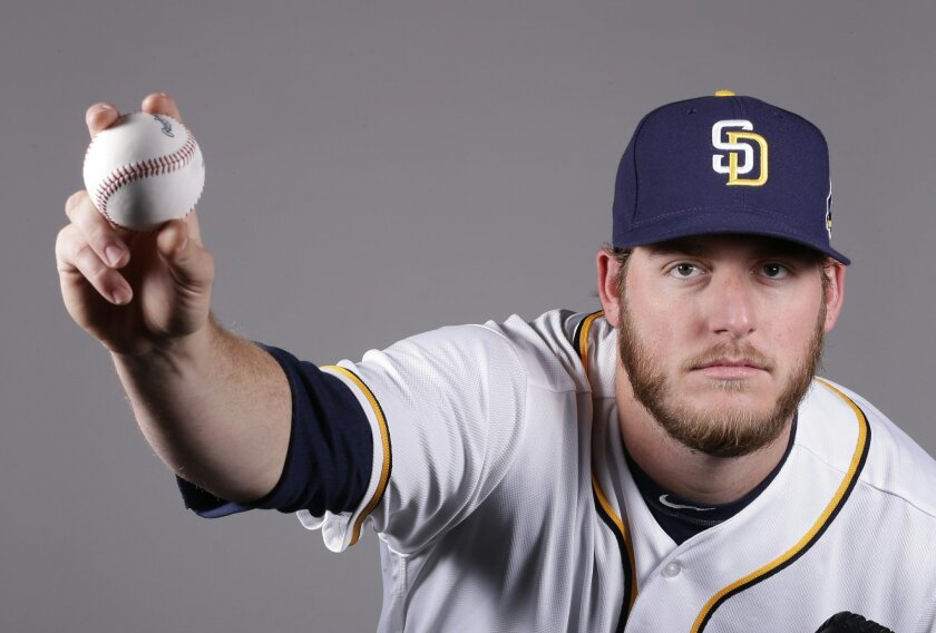 Padres right-hander Brandon Maurer. (AP Photo/Charlie Riedel)