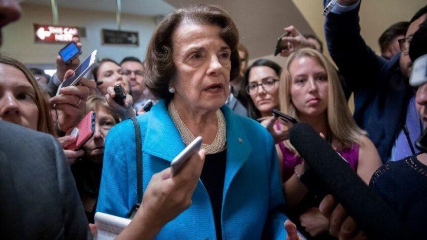 Sen. Dianne Feinstein (D-Calif.) responds Sept. 18 to reporters' questions on Supreme Court nominee Brett Kavanaugh.