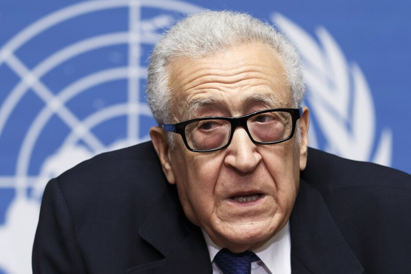 U.N. envoy Lakhdar Brahimi speaks at a news conference in Geneva, Switzerland, after the second round of peace negotiations between the Syrian government and opposition forces ended without any breakthroughs.