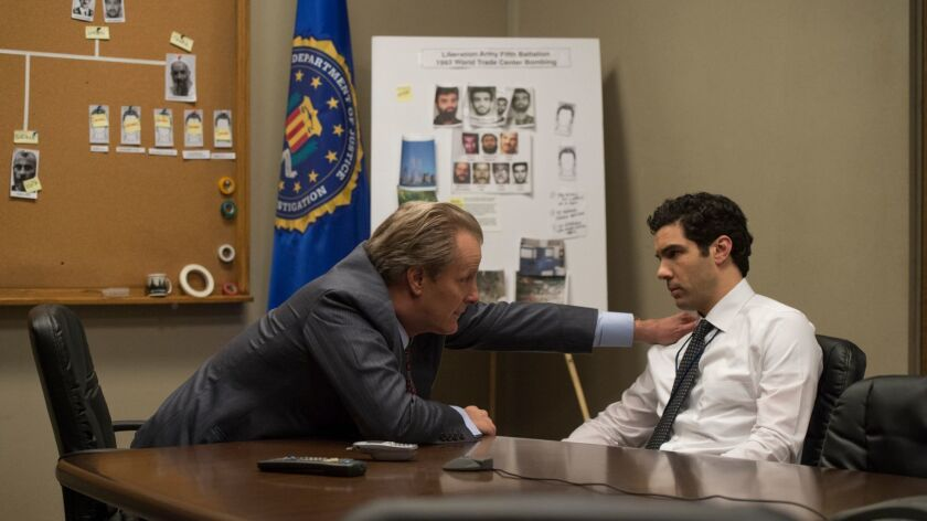"A scene from Hulu's ""The Looming Tower,"" the political thriller miniseries starring Jeff Daniels as the FBI's John O'Neill and Tahar Rahim as American Arab agent Ali Soufan."