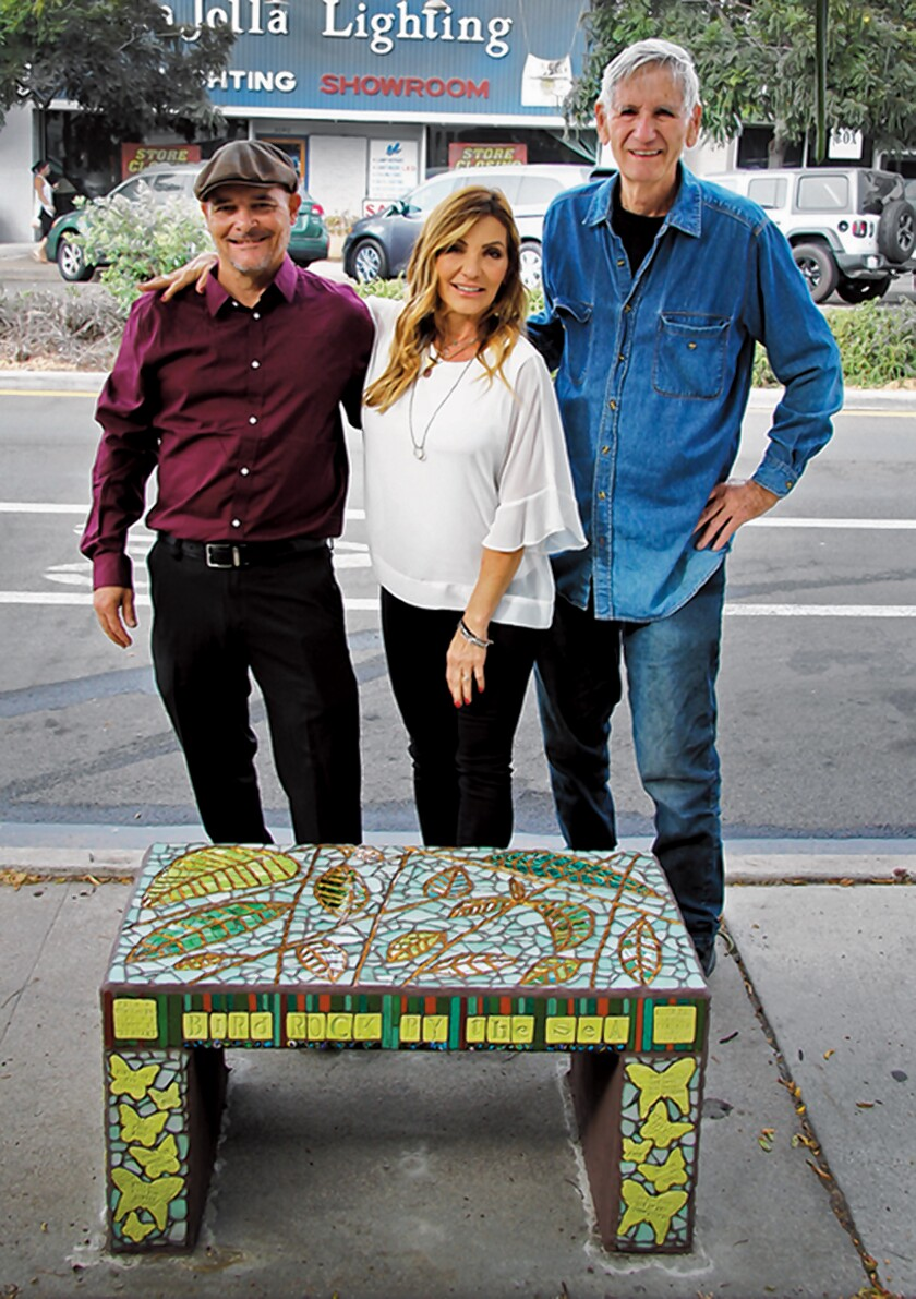 "Thom Kezas, Krista Robbins and AJ Mason. Bird Rock Community Council added this new community bench to its series titled ""Dancing Through Life."" The mosaic bench was dedicated Sept. 22, 2019 at 5643 La Jolla Blvd. to honor Joanne Mason."