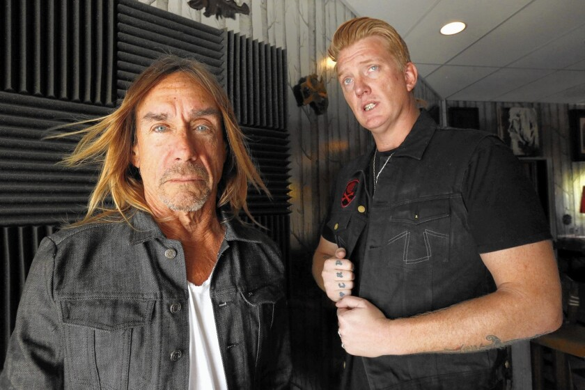 """Iggy Pop, left, and Josh Homme of Queens of the Stone Age teamed to work on Pop's latest album, """"Post Pop Depression."""" They were photographed at Pink Duck studies in Burbank on March 2, 2016."""